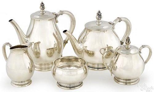 Royal Danish sterling silver tea service, 88.4 ozt