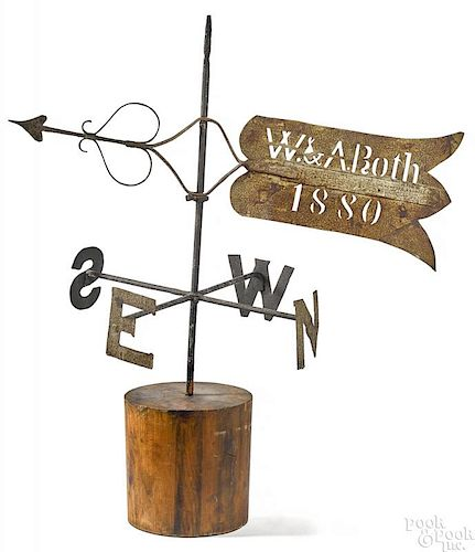 Wrought iron bannerette weathervane