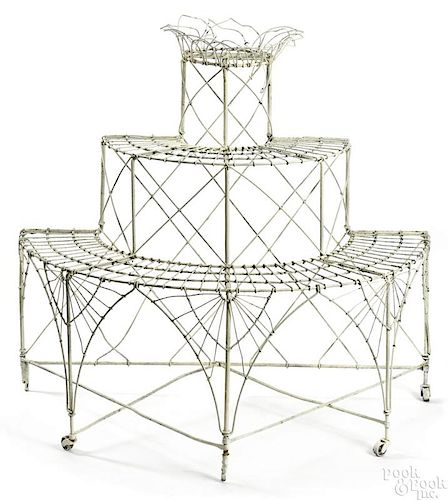 Painted wire plant stand, early 20th c.