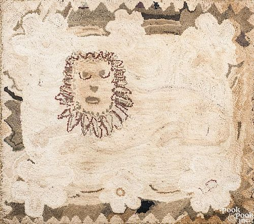 American hooked rug of a lion, ca. 1900