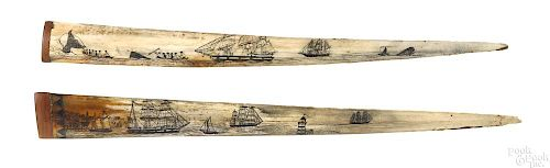 Two scrimshaw decorated swordfish bills