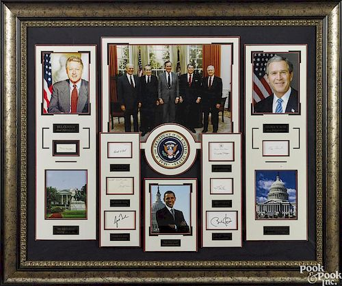 Framed group of US presidential signatures