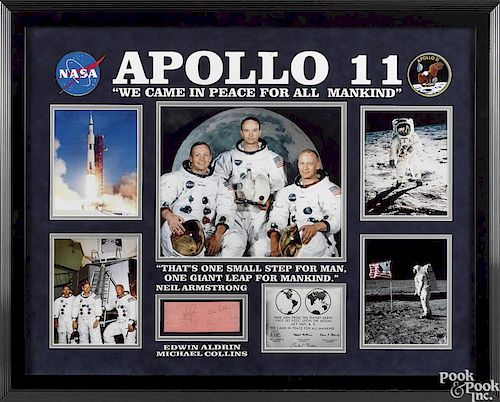 Framed Apollo 11 ephemera