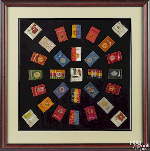 Group of framed silk patches