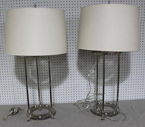 Pair of Nickel Three Bulb Table Lamps.