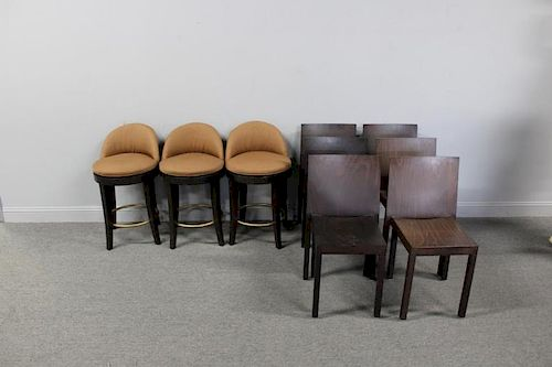 6 Contemporary Italian Wood Chairs Together