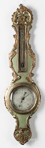French carved and painted barometer