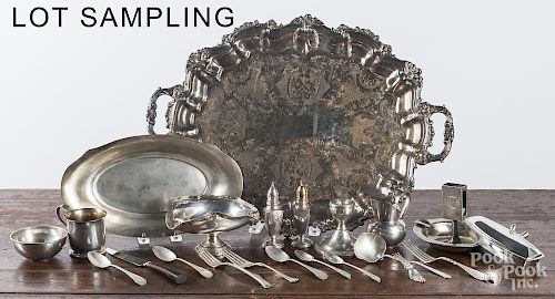 Group of miscellaneous sterling and silver plate