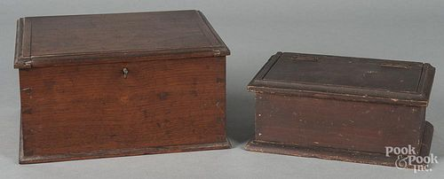 Pennsylvania walnut lock box, 19th c.