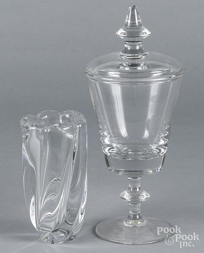 Val St. Lambert glass jar and cover