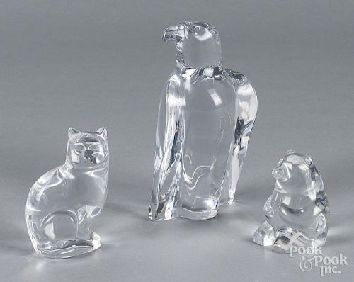 Orrefors glass eagle, together with a bear and cat