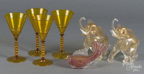 Pair of Venetian glass elephants