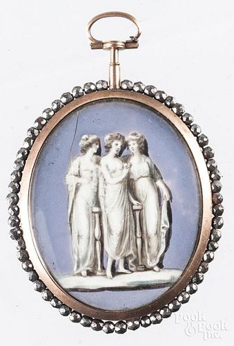 Miniature watercolor on ivory of three muses