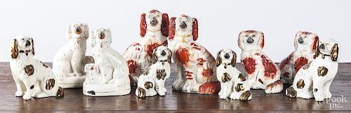 Five pairs of Staffordshire spaniels