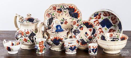 Assembled set of Gaudy Welsh porcelain.
