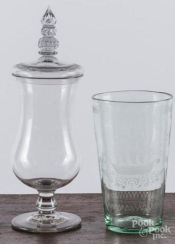 Large engraved flip glass
