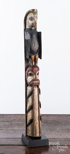 Northwest coast carved and painted cedar totem
