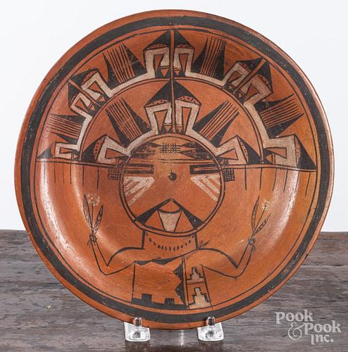 Hopi Kachina plate, early 20th c., 9 3/4'' dia.