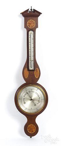 Federal style inlaid banjo barometer, 39'' h.