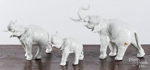 Three Royal Dux porcelain elephants