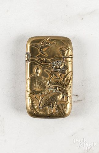 Japanese embossed brass match vesta safe