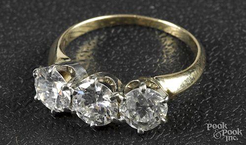 14K gold and three stone diamond ring
