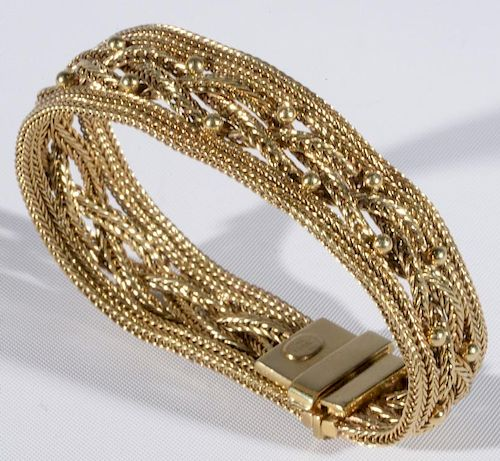 fd5dbaab8 Tiffany & Co. 14 karat gold mesh bracelet having four mesh bands. lg ...