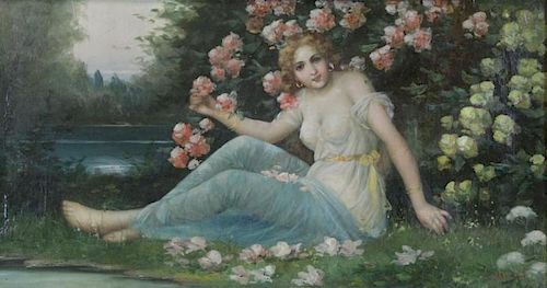 BRIAND, C. Oil on Canvas. Maiden Seated Among