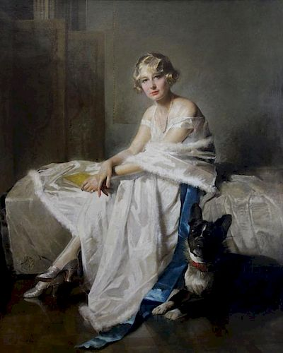 WATELET, Charles Joseph. Oil on Canvas. Lady with