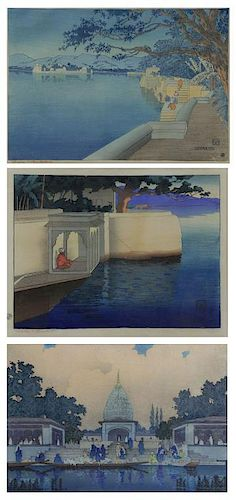 BARTLETT, Charles. Three (3) Woodblock Prints.