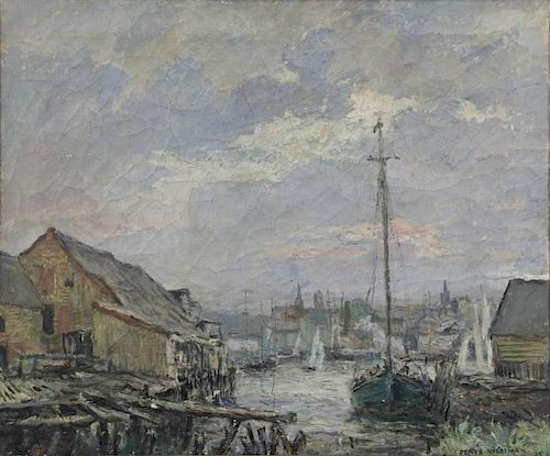 WORTMAN, Denys. Oil on Canvas. Harbor Scene, 1915.