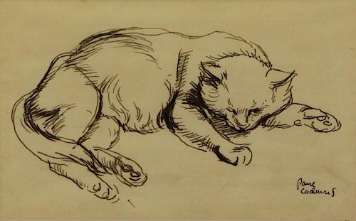 "CADMUS, Paul. Ink on Vellum. ""Cat"" 1927"