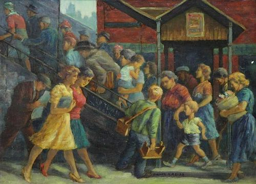 """REISS, Lionel. Oil on Canvas """"Going Home""""."""