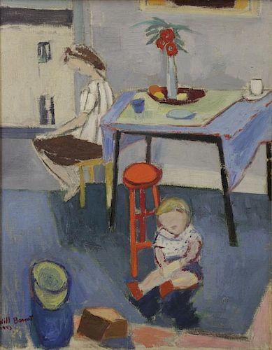 "BARNET, Will. Oil on Canvas. ""Interior"" 1943."
