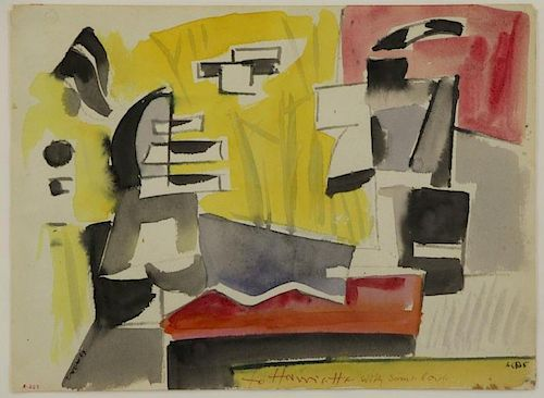 DREWES, Werner. Watercolor on Paper. Abstract