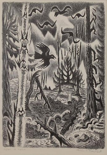 "BURCHFIELD, Charles. Lithograph ""Crows in March"""