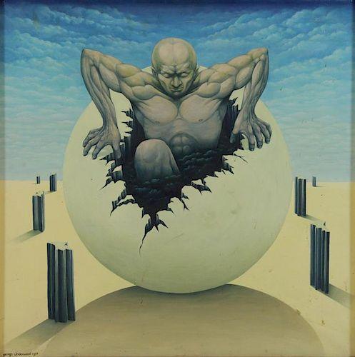 UNDERWOOD, George. Oil on Canvas. Man Emerging