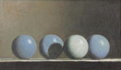 GIBSON, John. Oil on Canvas. Four Blue Balls, 1987