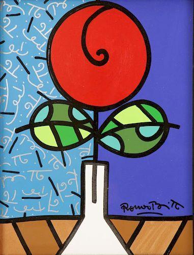 """BRITTO, Romero. """"Red Tulip"""" Acrylic on Canvas."""
