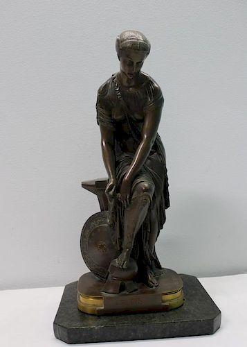 """HEBERT, Emile. Signed Bronze Sculpture """"Thetis""""."""