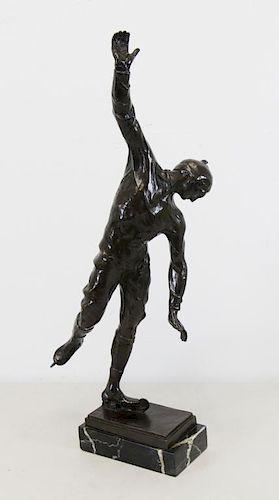 BERGER, Leo. Bronze Sculpture. Figure Skater.