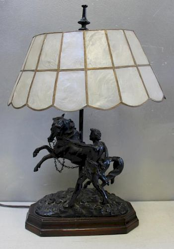 Antique Patinated Metal Horse Sculpture as a Lamp.
