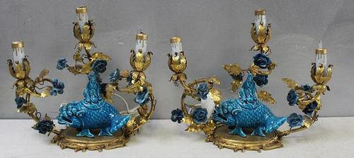 Pair of French Bronze Candlebra with Chinese