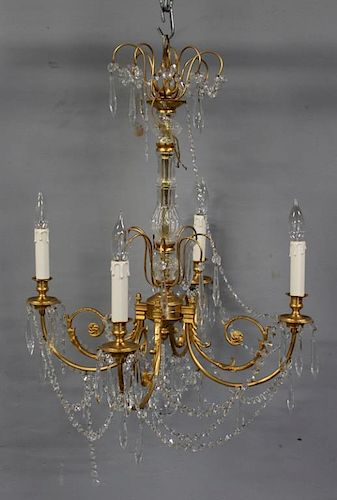 Fine Quality Gilt Bronze and Crystal Chandelier.