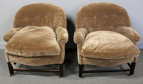 PAIR of Mid-Century Down Filled Mohair Upholstered