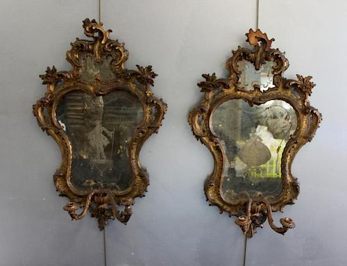 Pair of Antique Venetian Giltwood Mirrors/Sconces