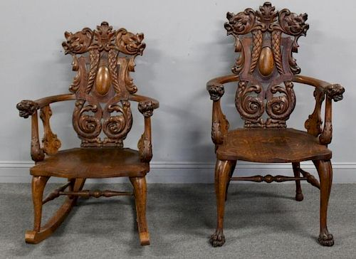 Victorian Highly Carved Oak Rocking Chair and
