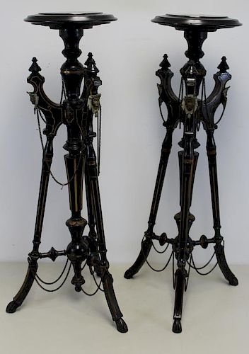 Pair of Victorian Lacquer and Gilt Decorated
