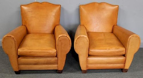 Pair of Art Deco Style Leather Upholstered Club