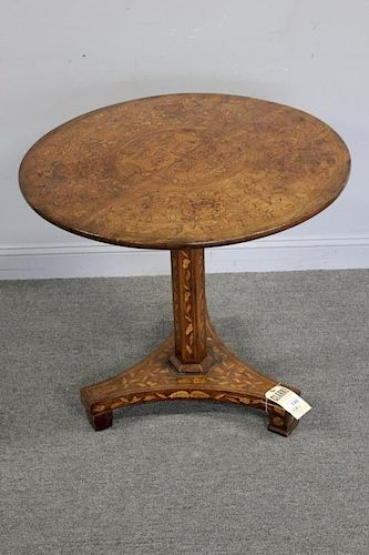 Dutch  Marquetry Inlaid Center Table.